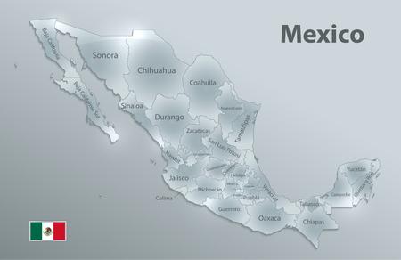 Mapa de México, nuevo mapa político detallado, estados individuales separados, con nombres de estado, nombres de estado 3D de tarjeta de vidrio, aislados en vector 3D de fondo blanco Ilustración de vector