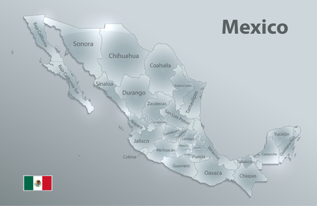 Mexico map, new political detailed map, separate individual states, with state names, glass card 3D state names, isolated on white background 3D vector