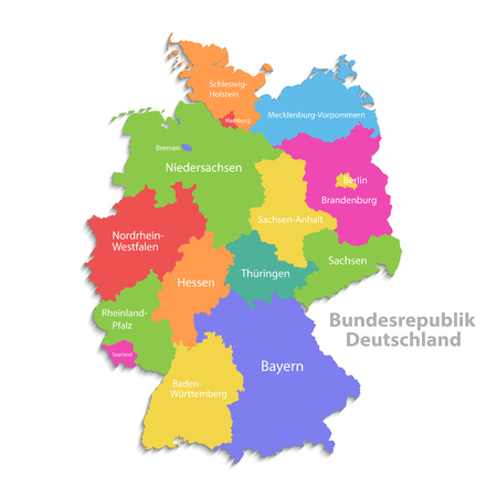 Germany map, new political detailed map, separate individual regions, with state names, isolated on white background 3D Illustration