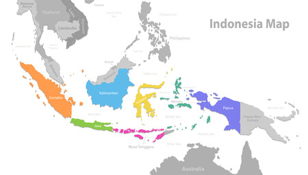 Indonesia map, new political detailed map, separate individual states, with state names, isolated on white background