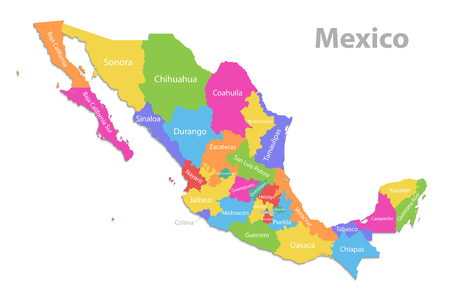 Mexico map, new political detailed map, separate individual states, with state names, isolated on white background