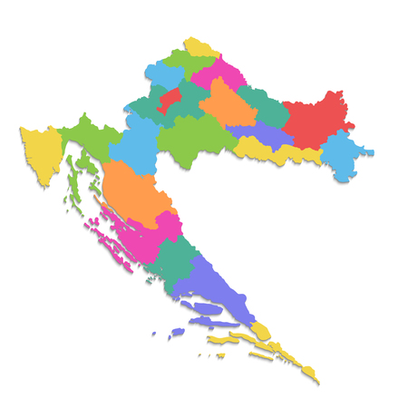 Croatia map, new political detailed map, separate individual regions, with state names, isolated on white background 3D blank