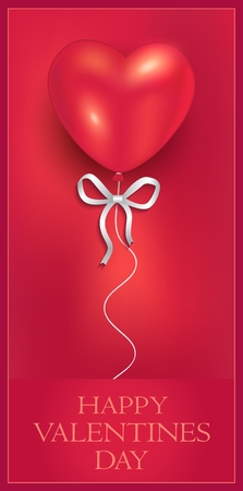 Heart balloon with ribbon, congratulations gift, greeting card, Happy Valentines Day vector Foto de archivo - 119040449
