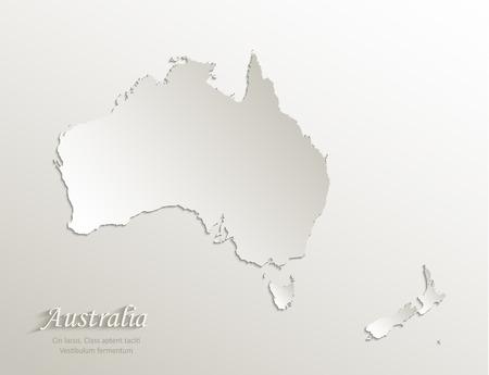 Australia continent map New Zealand, natural paper 3D card vector Foto de archivo - 119040453