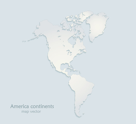 America continents map blue white paper 3D vector Illustration