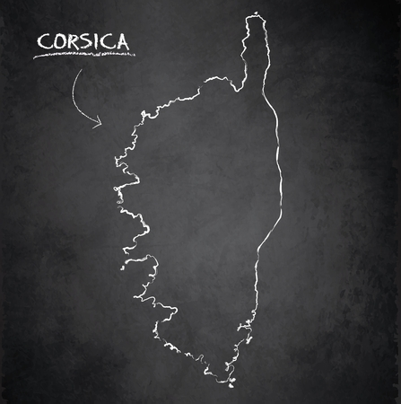 Corsica map blackboard school chalkboard vector