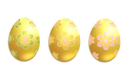 Golden Easter egg, flower green yellow, white background vector Foto de archivo - 119040471