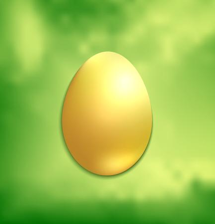 Golden Easter egg, green spring background vector Foto de archivo - 119040472