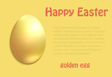 Golden Easter egg greeting card congratulations vector Foto de archivo - 119040473