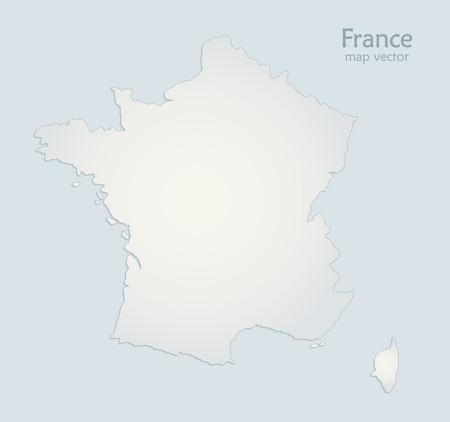 France map blue white paper 3D vector Illustration