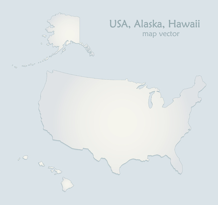 USA with Alaska and Hawaii map blue white paper 3D vector Foto de archivo - 119040484