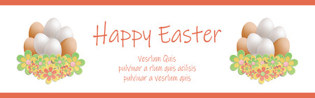 Easter heap of eggs in flowers banner horizontal vector Foto de archivo - 119040485