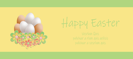 Easter heap of eggs in flowers card vector Foto de archivo - 119040486