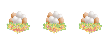 Easter heap of eggs in flowers on white background vector Foto de archivo - 119040487