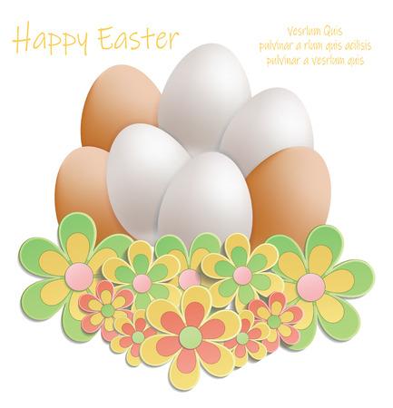 Easter heap of eggs in flowers vector Foto de archivo - 119040488