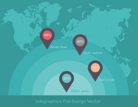 Infographics circles point on world map in background vector Foto de archivo - 119040497