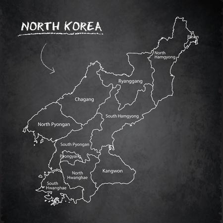 North Korea map separate region names individual card blackboard chalkboard vector Foto de archivo - 119040499