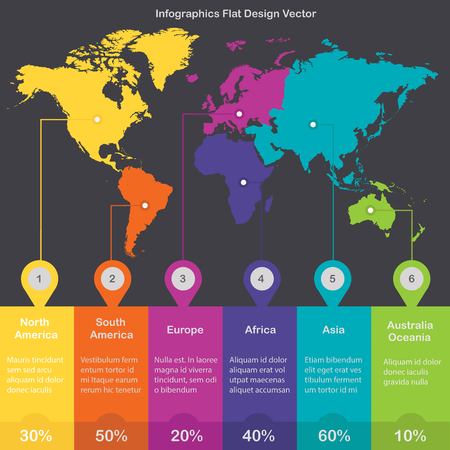 World continents Infographics colors vector Foto de archivo - 119040501