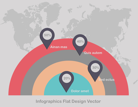 Infographics circles point on world map in background light color vector Foto de archivo - 119892745