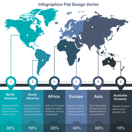 Infographics World maps of continents blue green colors on white background vector Foto de archivo - 119892744