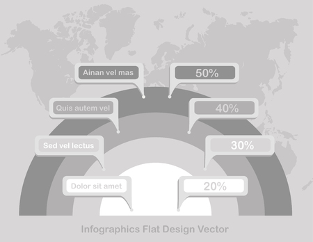 Infographics circles on world map in background paper white grey vector Foto de archivo - 119892751