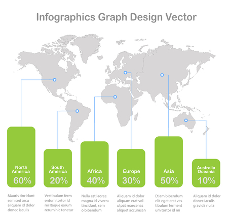 Infographics World maps of continents graph on white background vector Foto de archivo - 121232365