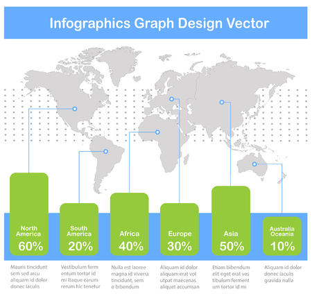 Infographics World maps of continents graph white blue green icons on white background vector Foto de archivo - 121232366