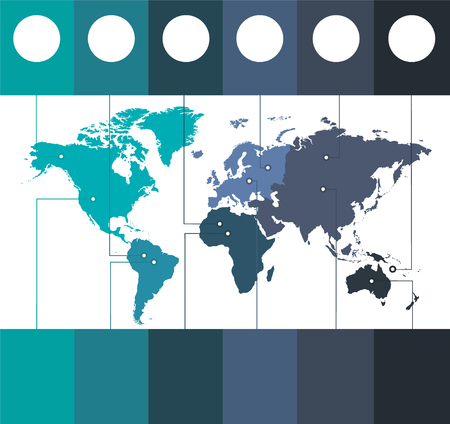 Infographics World maps of continents blue colors on white background blank Foto de archivo - 121232368