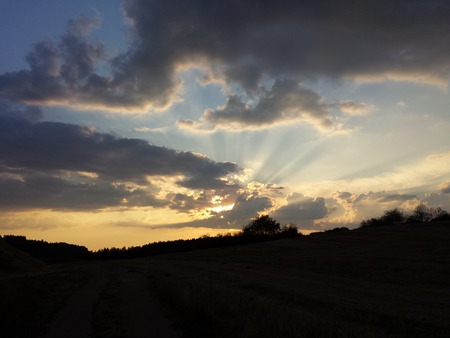 Sunset with clouds over forest Foto de archivo - 124193654