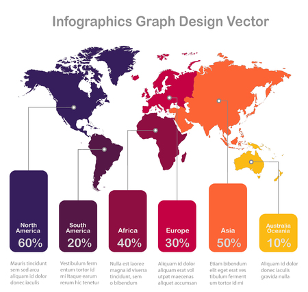 Infographics World maps of continents graph colors on white background vector