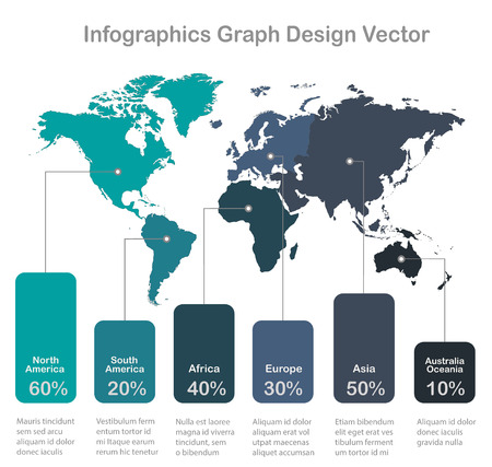 Infographics World maps of continents graph corolrs on white background blue vector Foto de archivo - 124193657