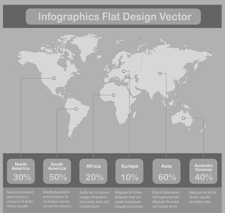 Infographics World maps of continents on gray paper background vector Foto de archivo - 124193658