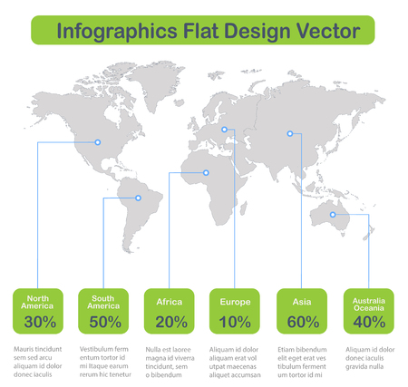 Infographics World maps of continents on white background with green icons vector Foto de archivo - 124193659