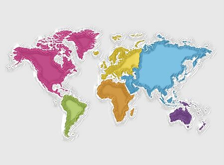 World map and colorful continents, abstract texture Foto de archivo - 128710430