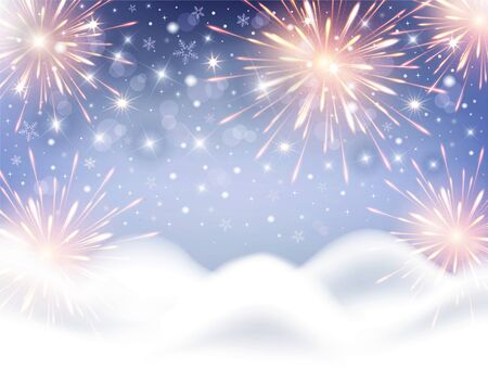 Background for celebration of Christmas and New Year with fireworks and snowflakes vector