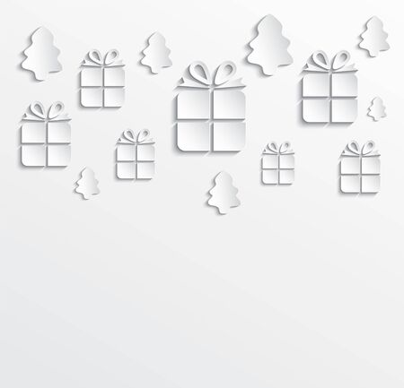 Christmas gifts and trees with paper texture on white empty transparent background vector