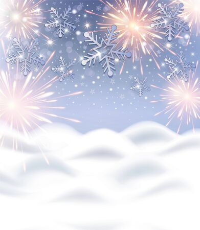 Snowflakes and firework background with snow drift for Happy New Year celebration vector
