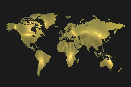 World map gold separate states, realistic light and background dark vector
