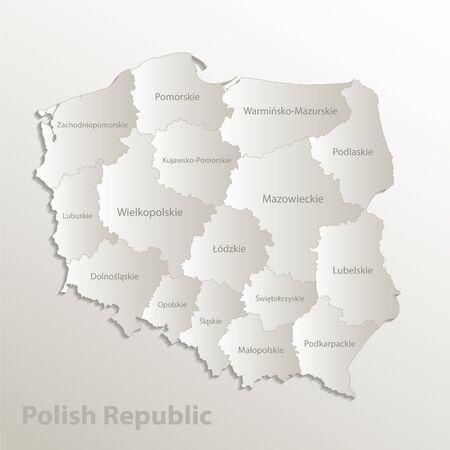 Poland map separates regions and names individual region, card paper 3D natural vector