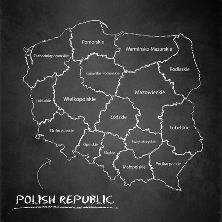 Poland map separates regions and names individual region, design card blackboard chalkboard vector Illustration