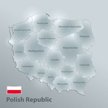 Poland map separates regions and names individual regions, design glass card 3D vector