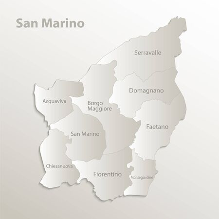 San Marino map separates regions and names individual region, card paper 3D natural vector