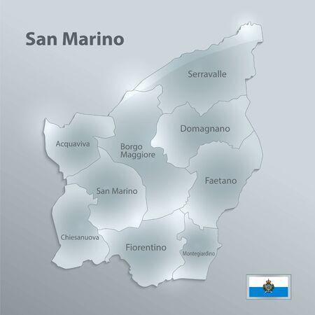 San Marino map separates regions and names individual regions, design glass card 3D vector