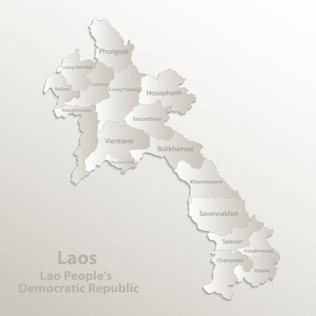 Laos map administrative division separates regions and names individual region, card paper 3D natural vector