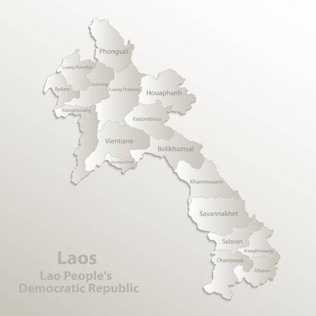 Laos map administrative division separates regions and names individual region, card paper 3D natural vector