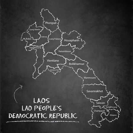 Laos map administrative division separates regions and names individual region, design card blackboard chalkboard vector