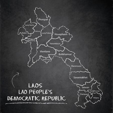 Laos map administrative division separates regions and names individual region, design card blackboard chalkboard vector