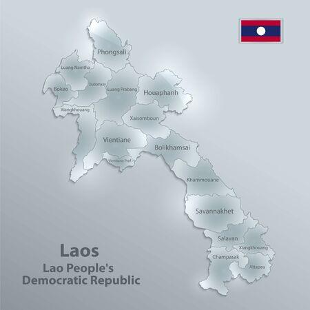 Laos map administrative division separates regions and names individual region, Laos flag, design glass card 3D vector
