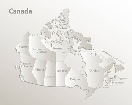 Canada map administrative division, separates regions and names individual region, card paper 3D natural vector