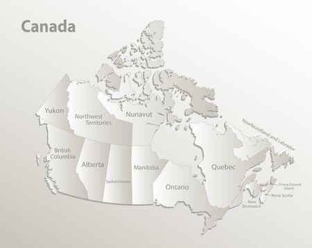 Canada map administrative division, separates regions and names individual region, card paper 3D natural vector Illustration